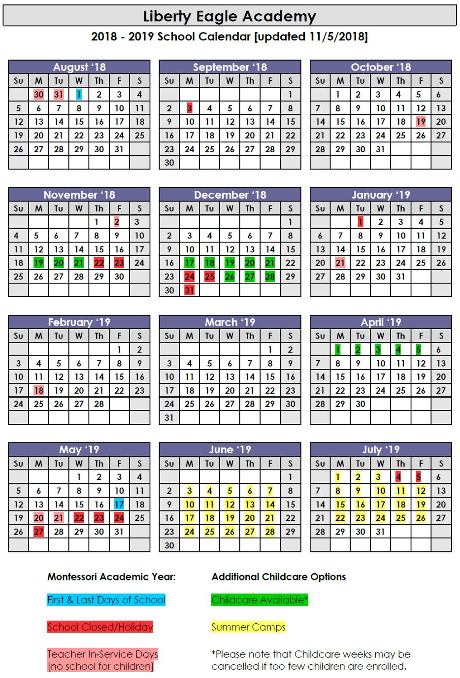 2018-2019 Calendar Updated 11.5.18